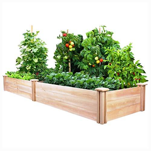 Planter, Cedar Wood 2-Ft x 8-Ft Outdoor Raised Garden Bed Planter Frame - Made in USA