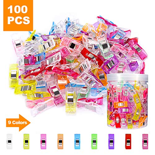 WisFox Clips de costura, 100pcs Craft Clips Craft accesorios Paquete de clips multiuso de variados colores, accesorio de costura, manualidades y tejidos, varios colores,Sewing Clips Wonder clips