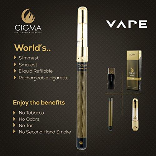 Cigma Vape Slim Schwarz, Die Kleinste und Dünnste, Auflad- und Nachfüllbare E-Zigarette der Welt, E-Zigarette Starterset, E Shisha, Wiederaufladbare Batterie, Auffüllbar, Verdampfer