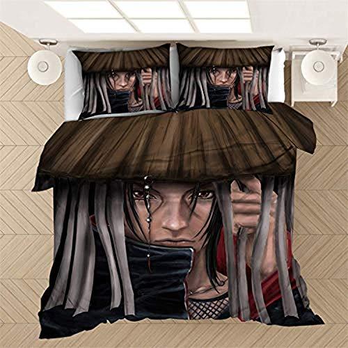 POMJK Naruto Bed Linen Naruto Kakashi, Girls Children Boys Anime 3D Printed Winter Duvet Cover and Pillowcase (A-9.220 cm x 240 cm)