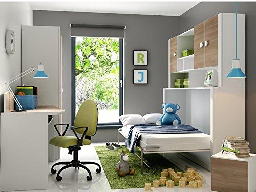 Unbekannt Cameretta per Bambini Mario Children Furniture armadio letto con materasso in der Colore bianco/Acacia