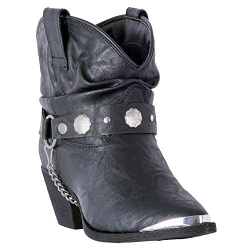 Dingo Women's Leather Concho Strap Slouch Booties Pointed Toe Black 9.5 M