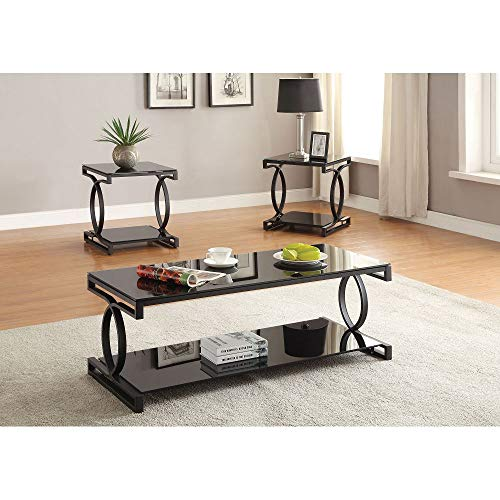 Knocbel Glass Coffee Table Set for Living Room, 3-Pieces Sofa Side Rectangular Coffee Table and Square End Tables with Metal Frame (Sandy Black and Black Glass)