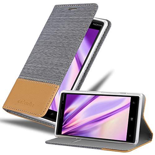 Cadorabo Hülle für Nokia Lumia 830 - Hülle in HELL GRAU BRAUN – Handyhülle mit Standfunktion & Kartenfach im Stoff Design - Case Cover Schutzhülle Etui Tasche Book