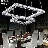ZYY Lámparas LED Crsytal 2 anillos cuadrados llevó luminaria de cristal de iluminación Lustre Suspensión Luminaria Lampadari En Vetro (Emitting Color : Warm White)