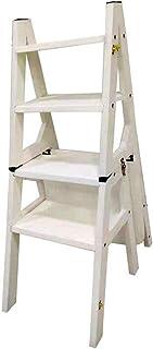 Z-STOOL Taburete De 4 Peldaños, Escalera De Tijera Plegable De Madera Maciza Taburete, Silla De Comedor Multifunción, Escalera De Seguridad, 37 * 50 * 90 Cm (Color : White)