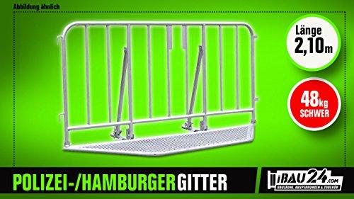 Polizeigitter - Hamburger Gitter Mit Haken & Verbindungsbügel - 1,05 x 1,0 x 2,10 m (H x T x L), Klappbar & Verzinkt