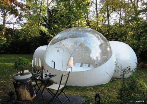 RelaxNow(TM) 2 Tunnel Transparent Bubble Tent Outdoor Inflatable Bubble Camping Tent - 1 Room + 1 Entrance + 1 Bathroom (Bubble House 4 Meter)