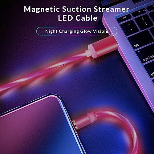 Kyerivs Magnetisches USB Ladekabel mit Sichtbar fließendem LED Licht Micro USB Ladekabel Typ C Schnelle Aufladung 3 in 1 Anschluss kompatibel für Phone, Samsung Galaxy Huawei und Mehr No Sync Data