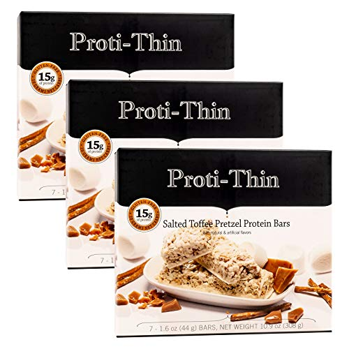 Proti-Thin Salted Toffee Pretzel Protein Bars, 15g Protein, Low Calorie, Very Low Carb (VLC), Low Fat, High Fiber Snack, KETO Diet Friendly, Ideal Protein Compatible, Gluten Free (3 Boxes - Save 5%)