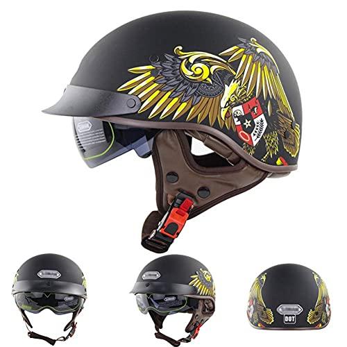 NZGMA Mezzo Casco da Motociclista, Casco Unisex per adulti con visiera Aperta retrò Chopper con visiera parasole ribaltabile retrattile, per Scooter da Moto Cruiser Bike ATV Dot/ECE approvato