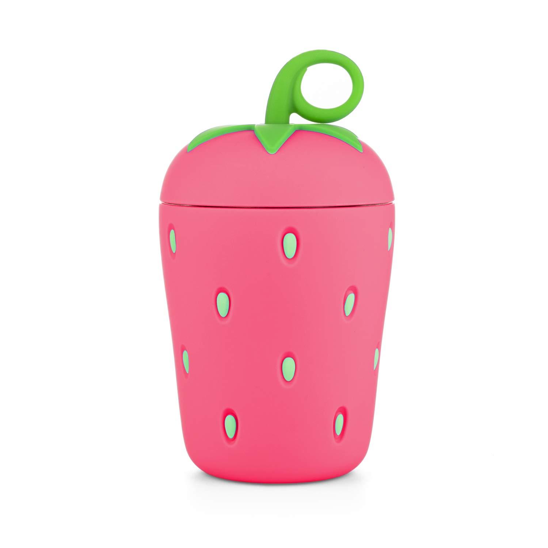 APIKA Linda Botella de Agua de Vidrio de Fresa Borosilicato de Pared Doble 300 ml Fácil de Llevar Adecuado para Regalos y Unisex para niño (Rosado): Amazon.es: Hogar