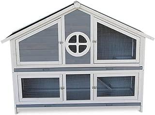 Rabbit Hutch Wooden 2-Storey Wire Mesh Door Ventilation Outdoor Removable Tray Pet Cage Animal,Blue