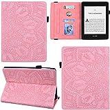 DodoBuy Funda para Kindle Paperwhite, Mandala Pattern Flip Smart Cover Wallet PU Funda de cuero bolsa de múltiples ángulos con ranuras para tarjetas - Rosa