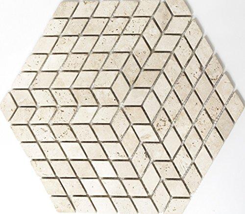 Lampada a mosaico mosaico piastrelle di rete a rombi Travertino Chiaro Effetto 3d Würfel Travertino pietra naturale cucina specchio da parete per piastrelle da parete Ver Blender