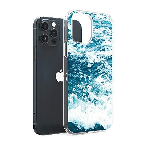 CasesByLorraine Compatible con iPhone 12 Pro Max 6.7 pulgadas, Ocean Sea Wave Flexible TPU Gel Suave Funda Protectora para iPhone 12 Pro Max 6.7 pulgadas (versión 2020)