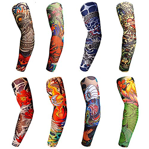 Toirxarn 8PCS Tattoo Sleeves Cool Temporary Sunscreen Arm Sleeves for Men Women Cycling Running Driving Sports-Colored Design