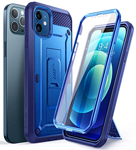SupCase Unicorn Beetle Pro Series Case for iPhone 12 / iPhone 12 Pro (2020 Release) 6.1 Inch, Built-in Screen Protector Full-Body Rugged Holster Case (Cobalt)