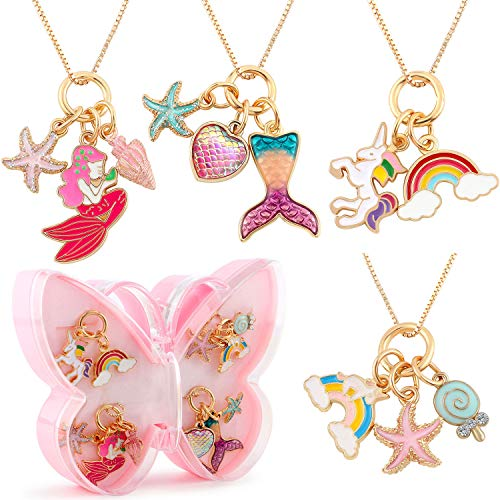 4pcs Pendant Necklaces for Kids Girls Unicorn Rainbow Mermaid Love Heart Starfish Conch Pendants Tiny Gold Plated Play Necklace Jewelry Party Favors Gifts for Little Girls Daughter