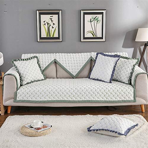 ADGAI Chaise Long-SofaToalla Cubierta Antideslizante Sofá Cubierta algodón Color sólido Protector sofás 1 2 3 Sofá,Verde,70 * 70cm