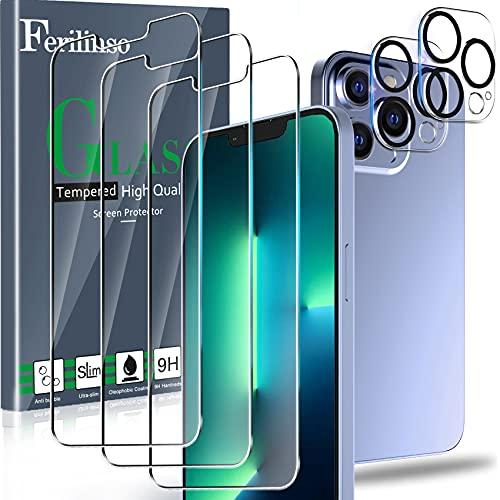 Ferilinso Protector de Pantalla Diseñado para iPhone 13 Pro, 3 Piezas HD Cristal Templado con 2 Piezas Protector de Lente de cámara, Funda Amistoso, Dureza 9H, 6.1 Pulgadas 5G, Sin Burbujas
