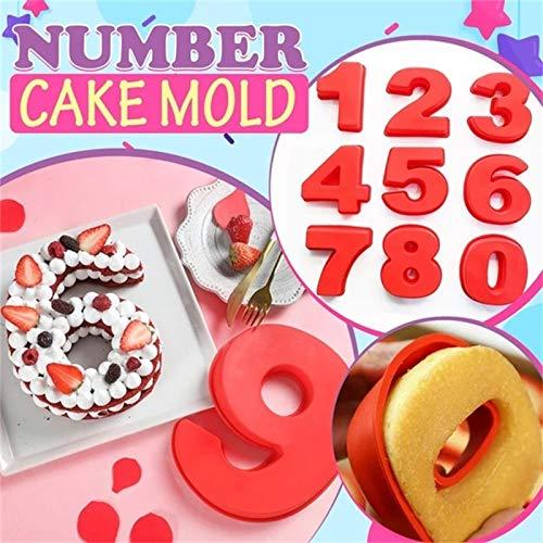 Hingpy Große Silikon Anzahl 0-9 Anzahl Backform Nummern Backen Geburtstag Kuchen Brot Küche DIY Form Kuchenform 9PCS