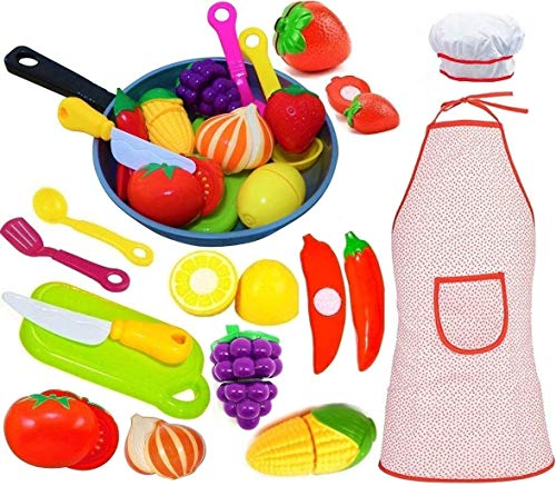 Play Kitchen Accessories Set for Kids - Cutting Toy Fruits & Vegetables - Cooking Pan - Apron and Chef Hat, Toy Knife & Cut board - & Play Utensils - A Toddlers, Boys & Girls Fake Food Pretend Pot Set