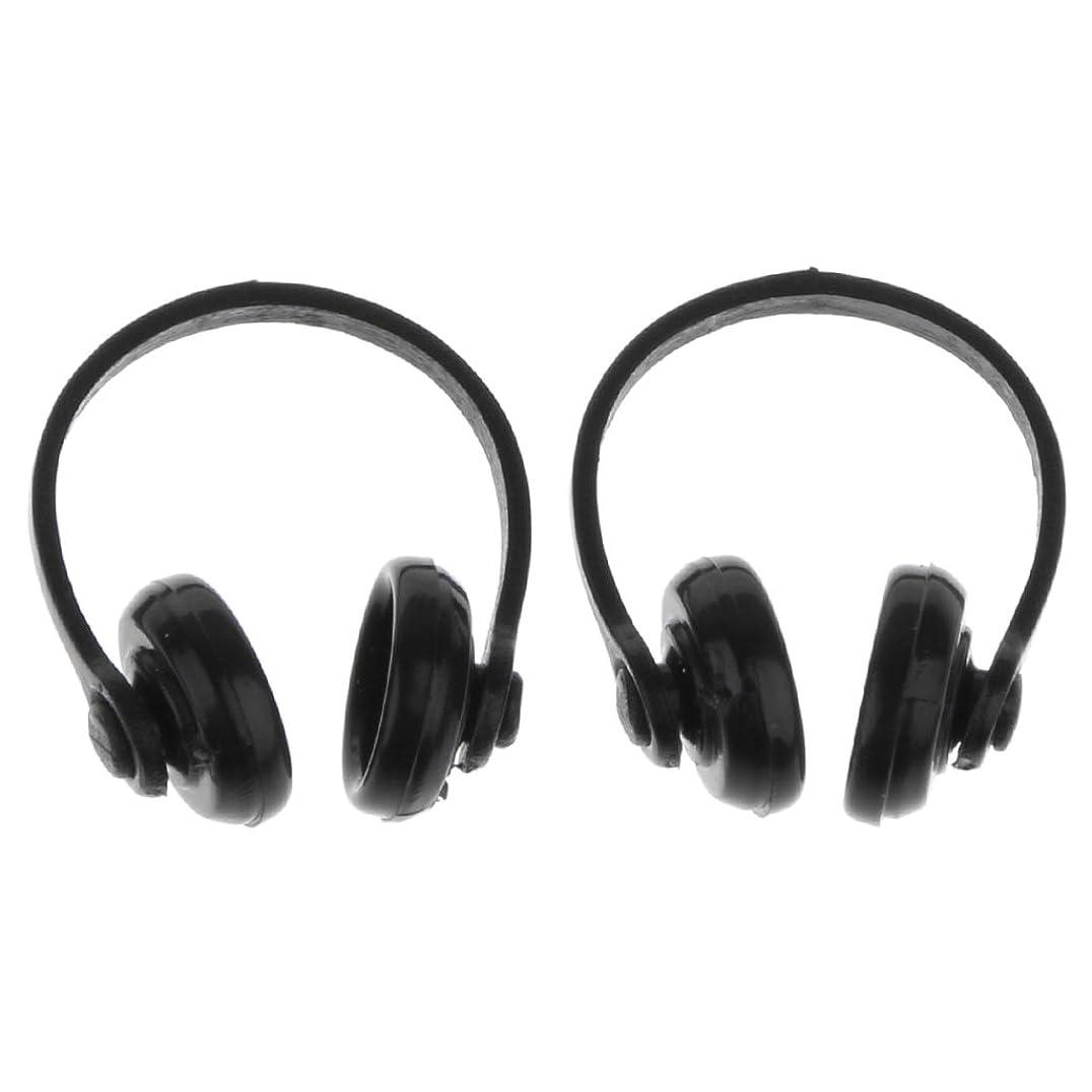 アトム気晴らし意味する#N/A 2ピース/個ブラックプラスチックミニワイヤレスヘッドフォン1:12ドールハウスミニチュア