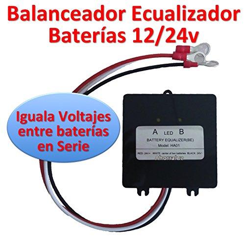 Ahorraluz Balanceador/Ecualizador/Equilibrador Solar de 24v con 2 12v en Serie. para baterías Plomo-Acido PB, AGM/VRLA o Gel, Blanco