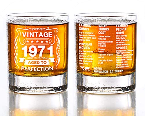 Old Fashioned Glasses-1971-Vintage 1971 old time information 10.25oz Whiskey Rocks Glass -50th Birthday Aged to Perfection - 50 years old gifts Bourbon Scotch Lowball Old Fashioned-1PCS