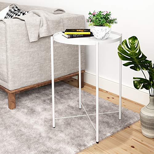 joolihome Tray Metal End Table, Small Round Sofa Side Table Outdoor & Indoor Snack Coffee Table Nightstand, for Living Room Hallway Bedroom Terrace Balcony (White)
