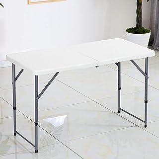 JSFQ 折りたたみ式テーブル/シンプルなポータブル屋外ダイニングテーブル/ホームチェステーブル/長方形変形テーブル 折りたたみ式テーブル (色 : 白)