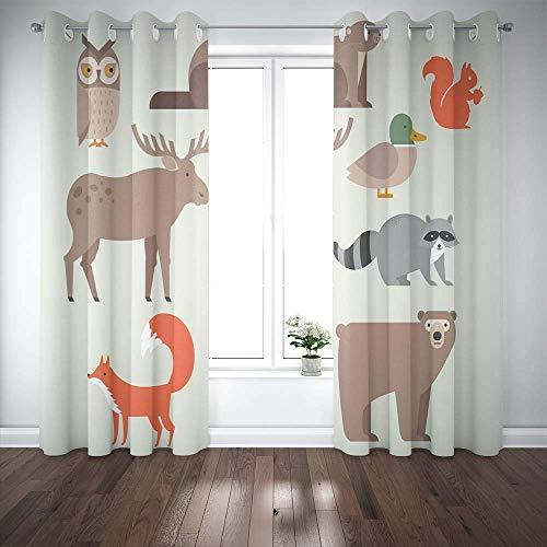 N / A Coola fönstergardiner, mörkläggning fönstergardin söta djur inkluderar björn uggla räv tvättbjörn älg bäver anka 2 paneler gardiner lämpliga för sovrum balkong badrum fönster gardin