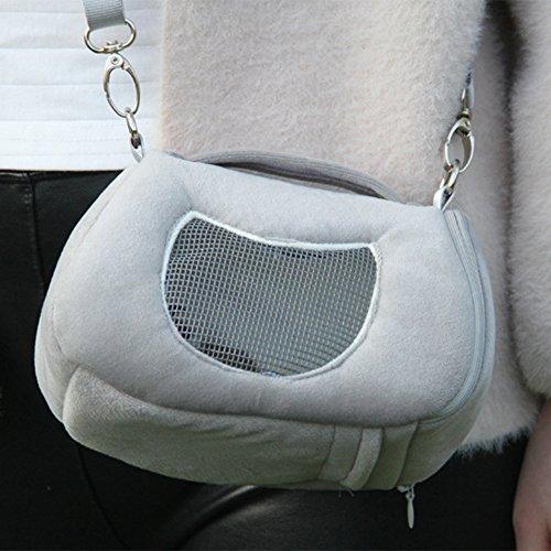 Sac de transport pour animaux de compagnie portable Hamster Mole hollandais paquet de porc pour les petits animaux grands sacs respirants sortants voyage épaule accessoires animaux sacs à main de couchage sac à dos avec sangle lit de velours confortable maille hamac chaud (Gris)