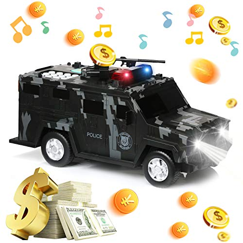 DRESSPLUS Kids Money Bank, Electronic Piggy Banks, Cool Armored Car Bank Password Coin Bank with Light & Music, Perfect Toy Gifts for Boys Girls (Black)