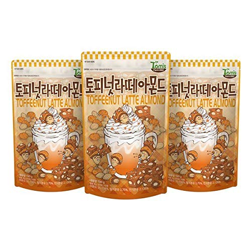 Gilim Tom#039s Farm Korean Seasoned Almonds Toffee Nut Latte Flavor 190g x 3 Packs