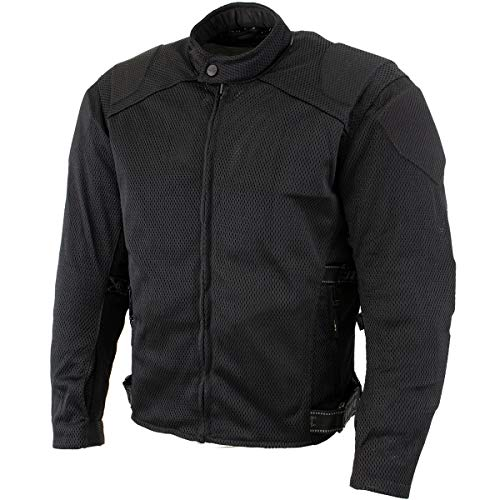 Xelement CF2157 Men's 'Caliber' Black Mesh Motorcycle Jacket with X-Armor Protection - X-Large