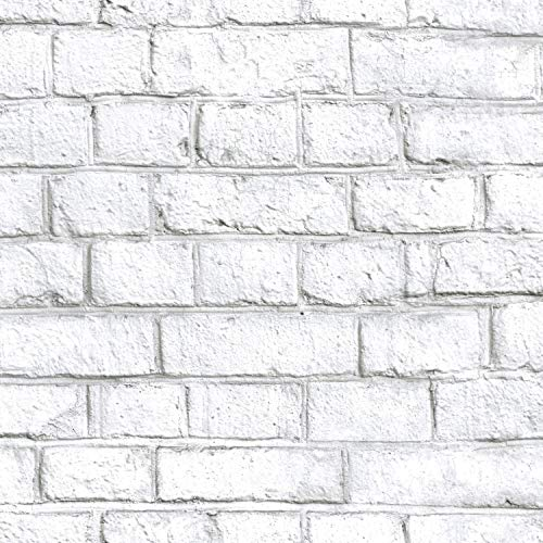 RoomMates White Brick Peel and Stick Wallpaper