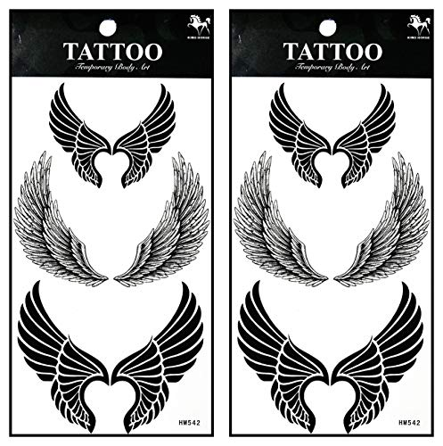 Tattoos 2 Sheets Fantasy Angel Eagle Bird Wings Temporary Tattoos Stickers Fake Body Arm Chest Shoulder Tattoos for Teens Men Women