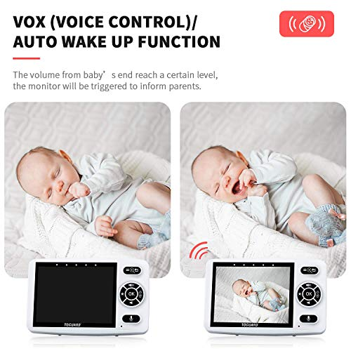 Baby Monitor with Camera, TOGUARD 3.5 Inch Screen Infant Optics Digital Cam with Infrared Night Version 2.4GHz Wireless Transmission 2 Way Talk Temperature Sensor Vox Auto Feeding Clock and Lullabies