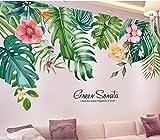 Nórdico fresco verde siembra ins viento tropical hoja pared pegatina sala de estar sofá dormitorio fondo pared pegatina decorativa autoadhesiva