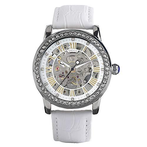 Shenhua Leder-Mechanische Skelett-Uhr für Frauen, wasserdichte Armbanduhr, Geschenk für Frauen