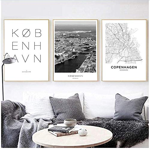 XingChen Stampe Foto 3x40x60cm Senza corniceCopenhagen Copenhagen Paesaggio della Città Poster su Tela Nero Bianco Arte Pittura Immagini Decorative Decorazioni per la casa