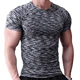 Musclealive Hommes Maigre Serré Compression Couche de Base Manche Courte T-Shirt La Musculation Tops Polyester et Spandex,Noir / Blanc / Bleu,S-(Buste 34po-35po)