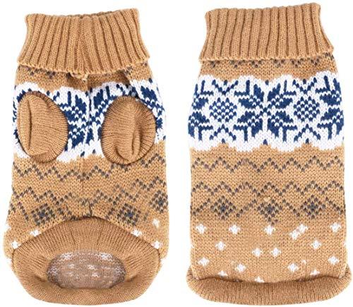 Heyu-Lotus Hundepullover Winter Warmer Hund Katzenpullover Kleidung hundemantel Welpenpullover Haustier Katze Pullover für kleinen großen Hund Katze (XL-Beige)