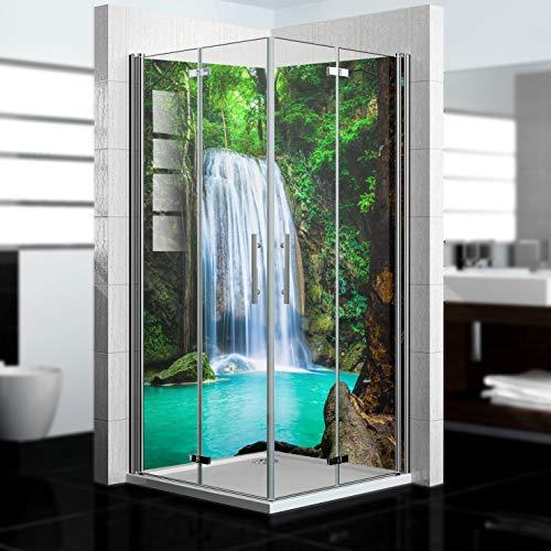 dedeco Eck-Duschrückwand wasserfest mit Wasserfall Motiv UV-Lack glänzend - 2 x 90x200 cm, als Badrückwand zum Fliesenersatz, Dekorwand, Wandverkleidung und Duschplatte aus Aluminium - Made in Germany