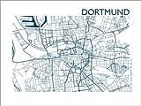 Poster 70 x 50 cm: Stadtplan von Dortmund von 44spaces -
