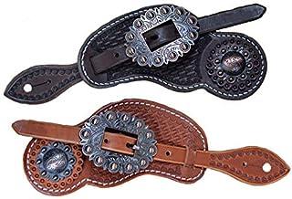 HAOT Cinturón de espuelas, cinturón de espuelas Retro de Estilo Occidental para Adultos Cinturón Tejido a Mano de Cuero de Mezclilla Adecuado para Todo Tipo de situaciones 2 Piezas