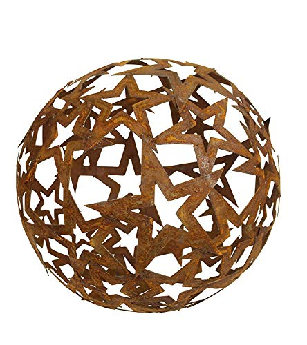 Bornhöft Stern Kugel Metall Rost Gartendeko Edelrost rostige Gartendeko 30cm Sternenkugel