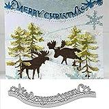 Merry Christmas Metal Die Cuts, Christmas Lace Edge Snowflake Flower Cutting Dies Cut Stencils for DIY Scrapbooking Album Decorative Embossing Paper Dies Card Making